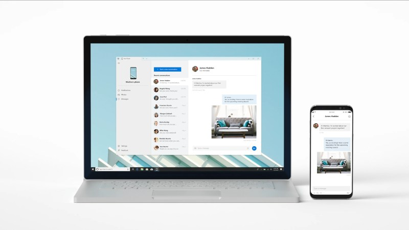 connect your phone to your PC with Windows 10 that enables instant access to text messages, photos and notifications