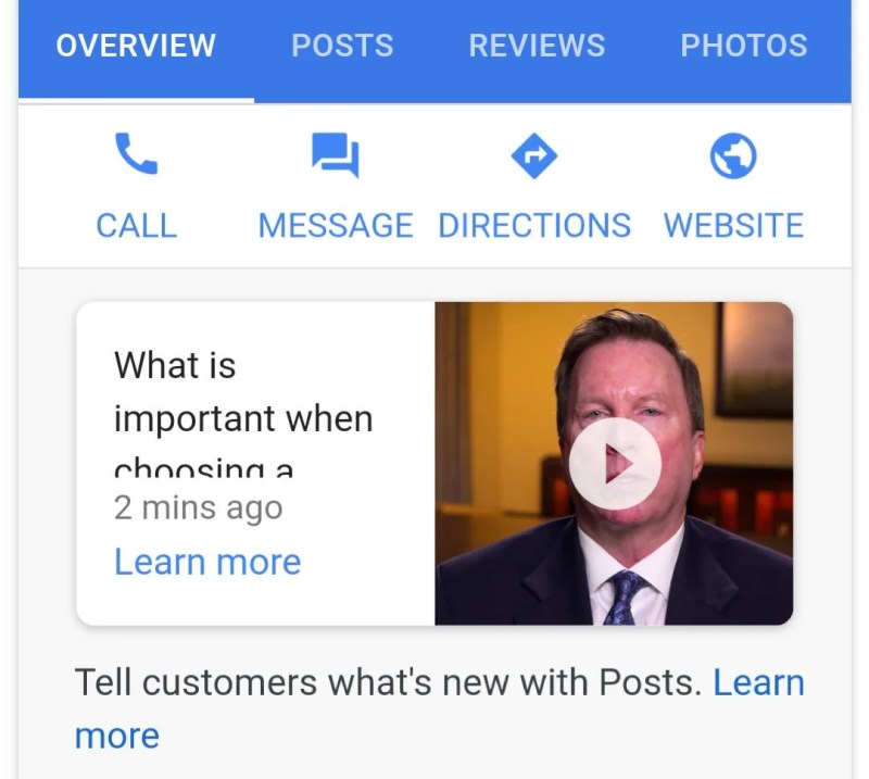Google Posts with video and photos support