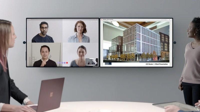 Skype group video call on Microsoft Surface Hub 2