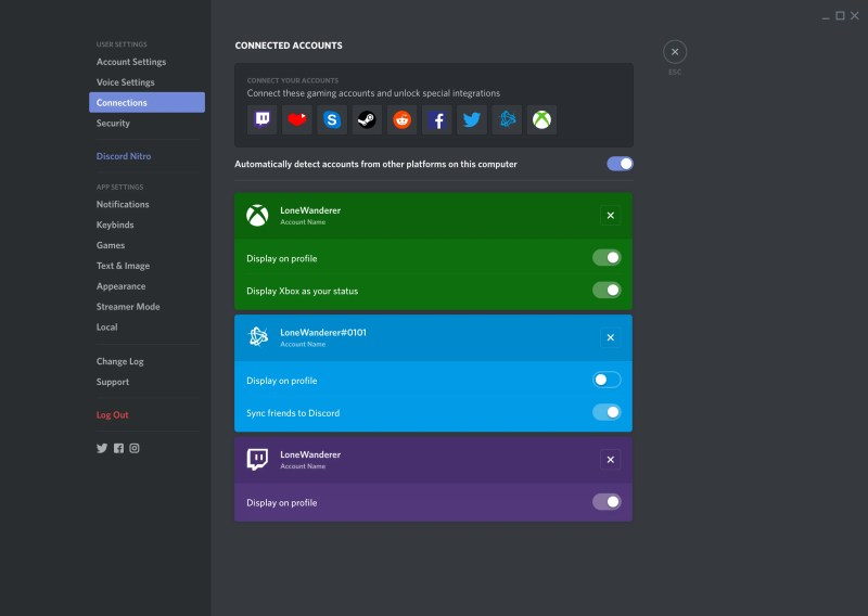 Xbox One Users Settings Connected Accounts