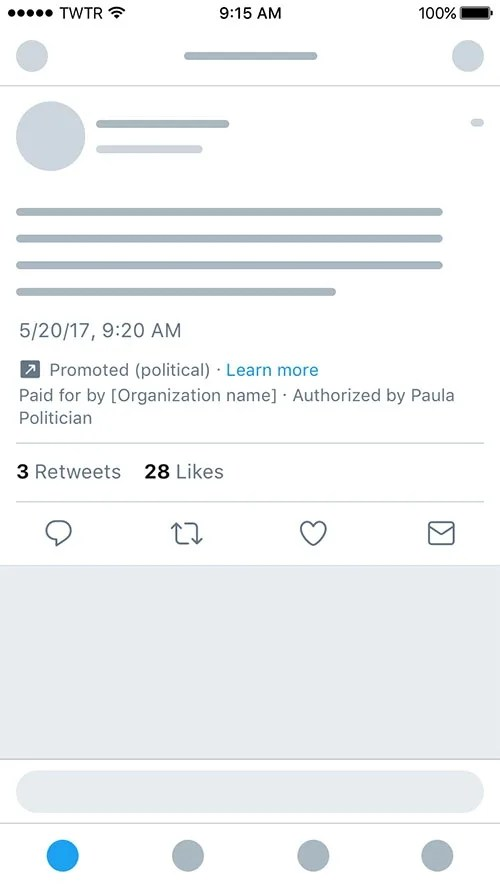 Visual Badge with Information on Political promoted content on Twitter