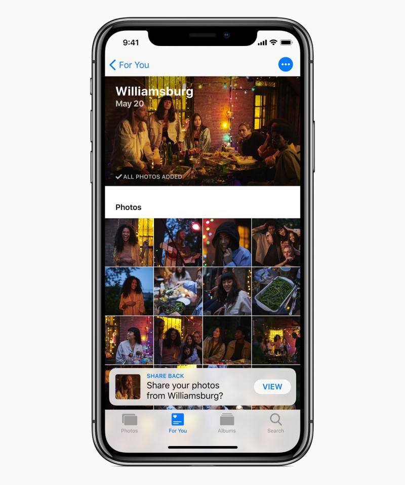 iOS 12 Photos App Share Back Option