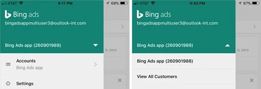 Bing Ads App Dropdwon to Select multi-customers