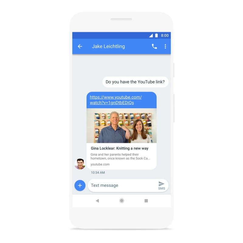 Google AI Messages App in-line Link Preview