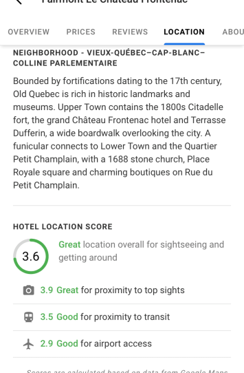 Google Hotel Knowledge Panel : New Location Scores