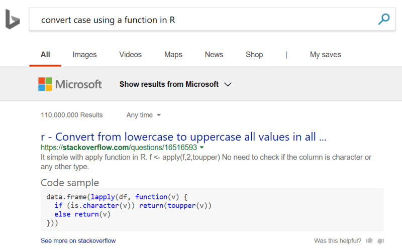 Code Sample Answer on Bing Search Results Page