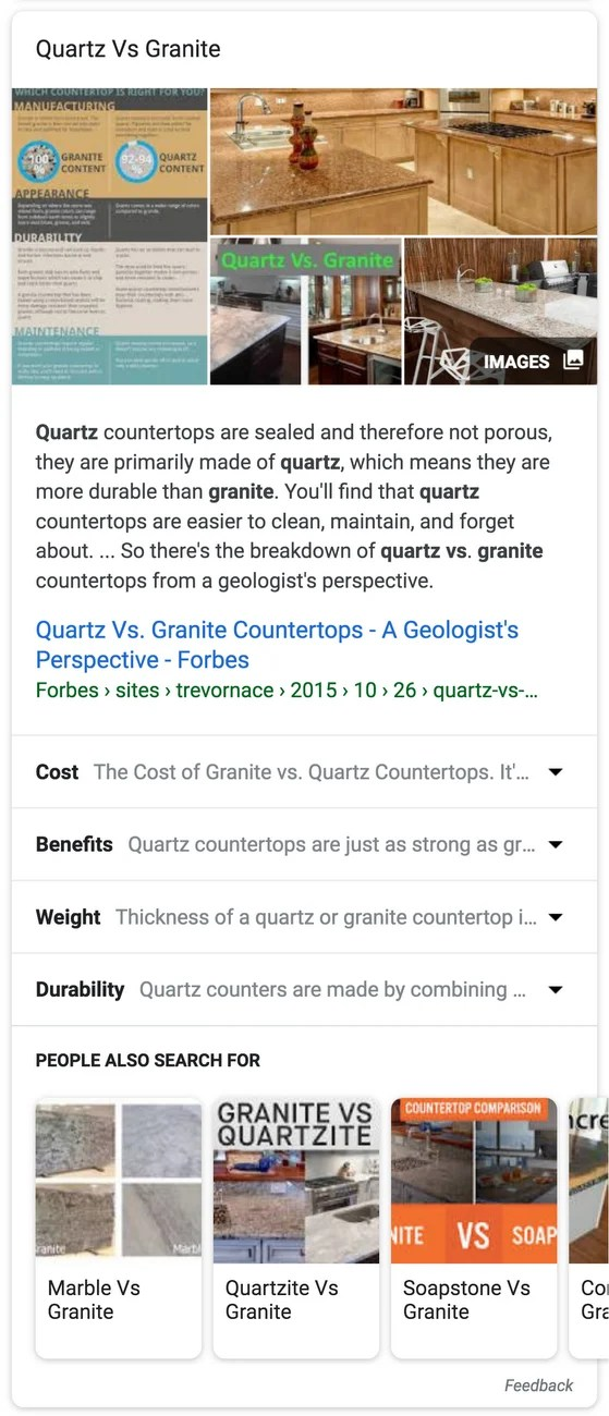 Google Expandable Featured Snippet on Search Results