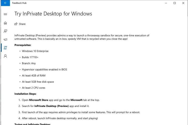 inprivate desktop in windows 10