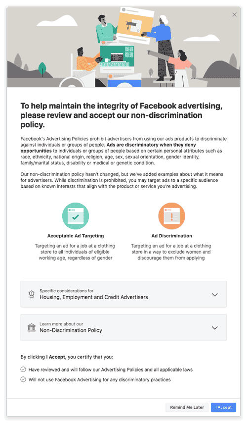Facebook new non-discrimination policy for advertising