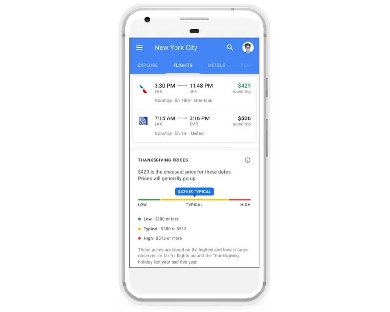 Google Flights Thanksgiving Flight price