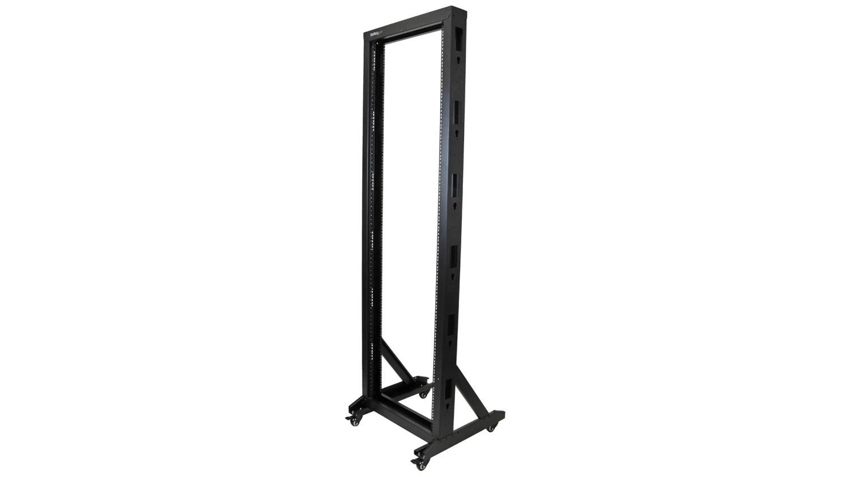 42u server rack with steel 2 post frame in black