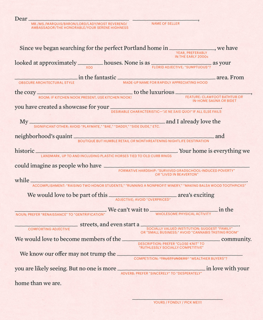 The Ultimate House Hunter S Letter Mad Libs Style