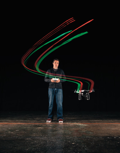 Scott Edwards, founder of Portland's drone hobbyist group, test-flies his craft.