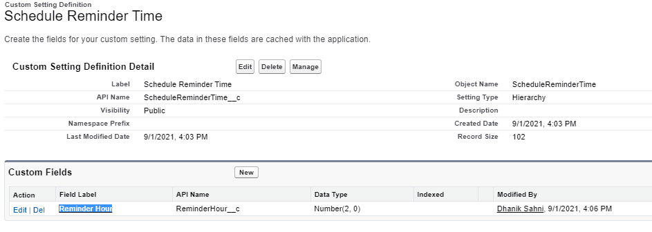 Custom Setting for dynamic reminder time