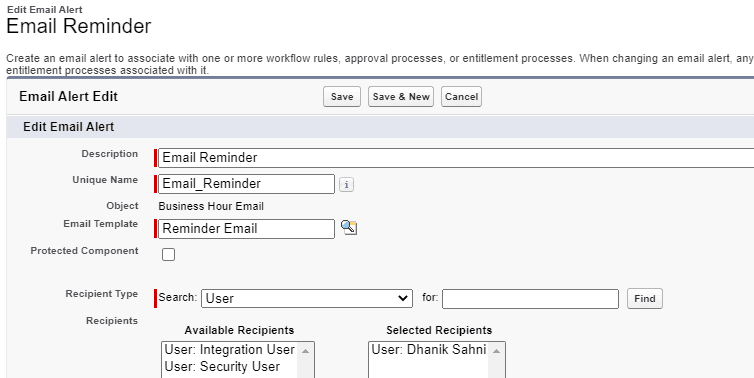 Email Alert in Workflow action
