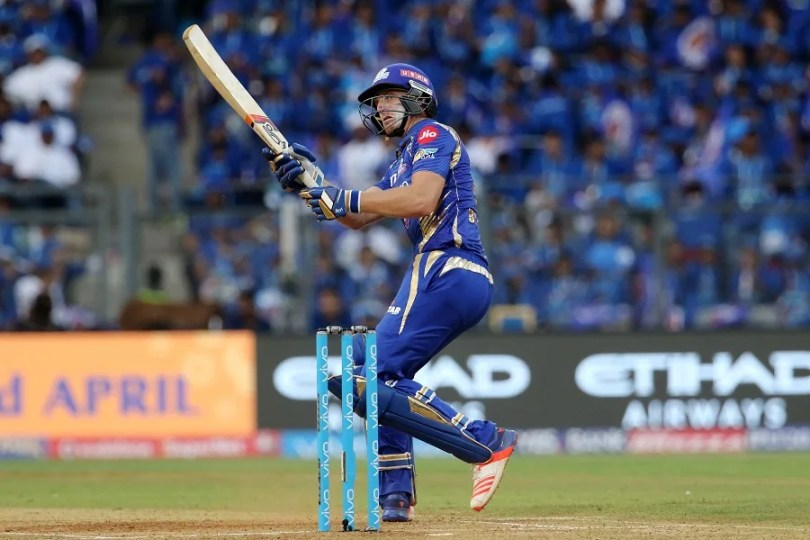 Jos Buttler of the Mumbai Indians plays a shot during match 16 of the Vivo 2017 Indian Premier League between the Mumbai Indians and the Gujarat Lions held at the Wankhede Stadium in Mumbai, India on the 16th April 2017 Photo by Vipin Pawar - IPL - Sportzpics
