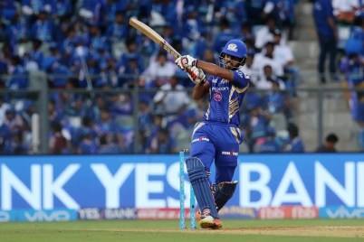 Nitish Rana of the Mumbai Indians plays a shot during match 16 of the Vivo 2017 Indian Premier League between the Mumbai Indians and the Gujarat Lions held at the Wankhede Stadium in Mumbai, India on the 16th April 2017 Photo by Vipin Pawar - IPL - Sportzpics