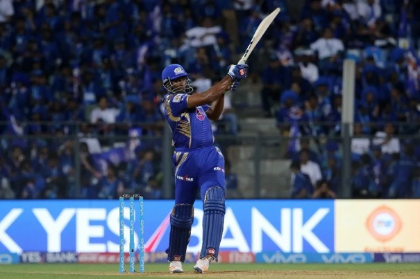 Kieron Pollard of the Mumbai Indians plays a shot during match 16 of the Vivo 2017 Indian Premier League between the Mumbai Indians and the Gujarat Lions held at the Wankhede Stadium in Mumbai, India on the 16th April 2017 Photo by Vipin Pawar - IPL - Sportzpics