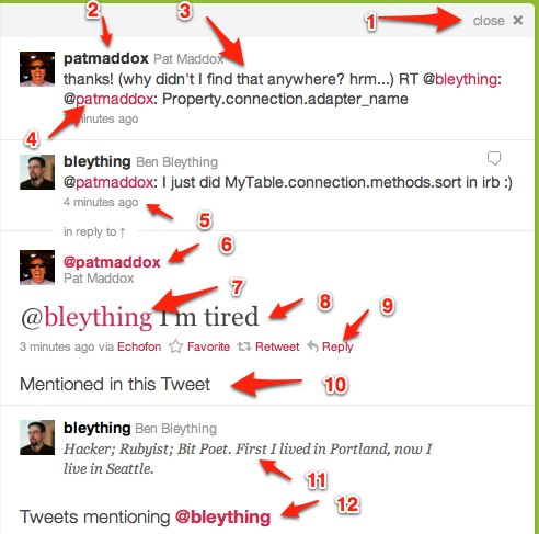 Annotating a screen shot of new twitter to show the 12 distinct font styles.