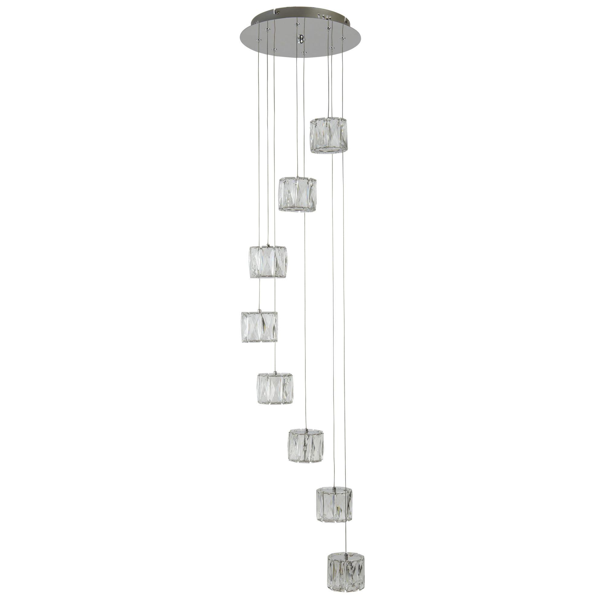 Led 8 Light Octagon Ceiling Multi Drop Clear Crystal Trim