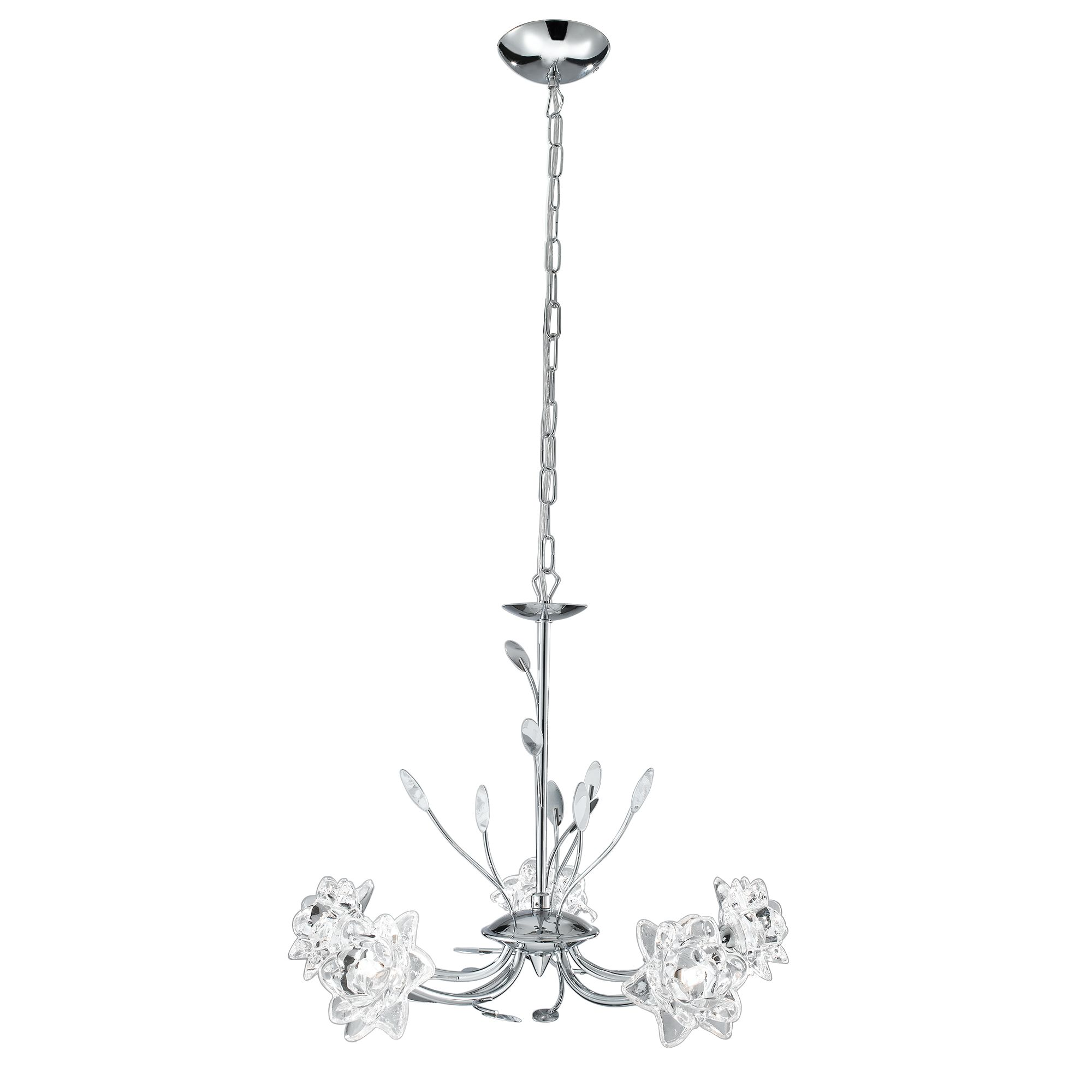 Bellis Chrome 5 Light Fitting With Clear Flower Glass