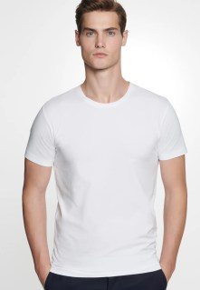 Men Crew Neck T-Shirt made of cotton blend white 01.242490-0001-0001 | Seidensticker