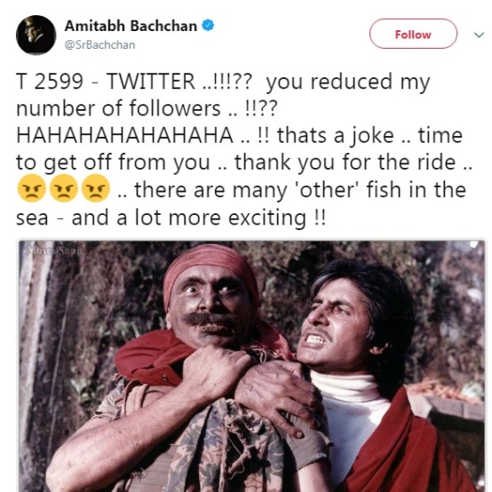 Amitabh Bachchan Looses Twitter followers