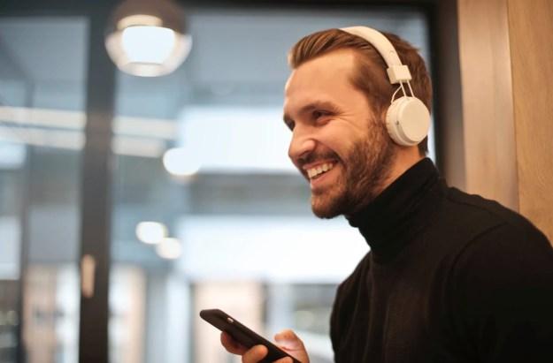 A man listening to digital audio