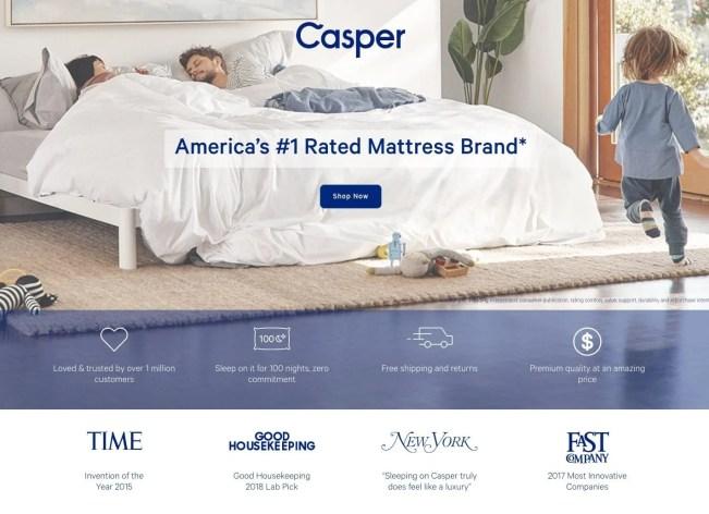 Casper landing page