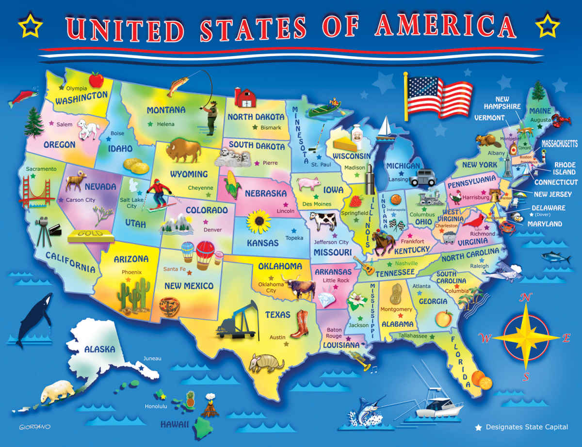 Usa Map 60 Piece Jigsaw Puzzle