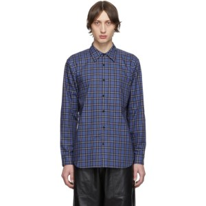Tibi SSENSE Exclusive Blue and Multicolor Check Kingston Shirt