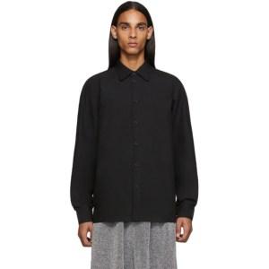 Random Identities Black Raglan Sleeve Button Up Shirt