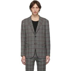 Eidos Grey Wool Windowpane Plaid Blazer