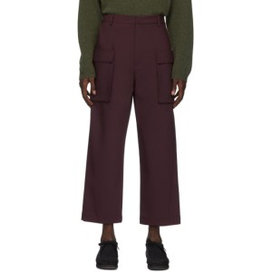 Deveaux New York Burgundy Bonded Wool Gusset Cargo Pants