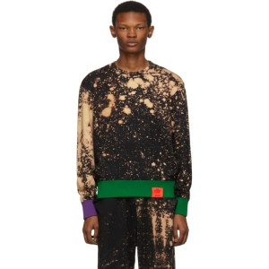 S.R. STUDIO. LA. CA. Black SOTO Hand-Bleached Contrast Rib Sweatshirt
