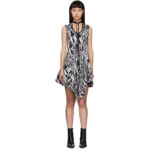 Mugler Black and White Tapestry A-Line Dress