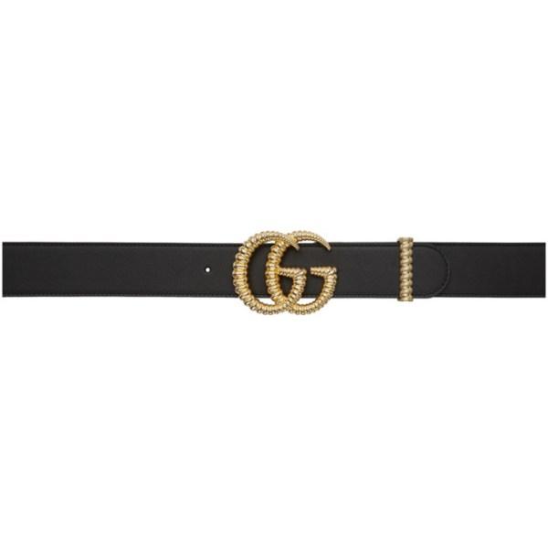 Gucci Black Leather Torchon GG Belt