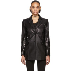 Yang Li Black Patent Faux-Leather Cut-Out Blazer