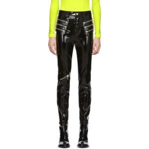 Unravel Black Latex Triple Zip Skinny Trousers