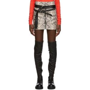 Unravel Grey Mock Python Triple Zip Skirt
