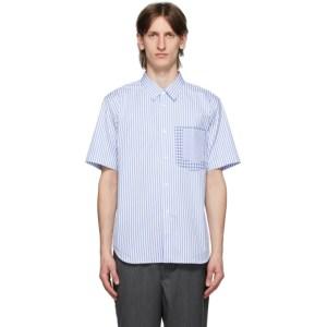 Comme des Garcons Homme Deux Blue and White Stripe Check Shirt