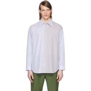 Tibi SSENSE Exclusive White and Blue Collage Shirt