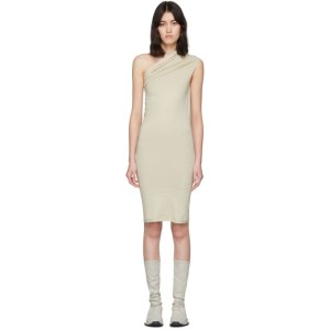 Rick Owens Drkshdw Beige One Shoulder Tunic Dress
