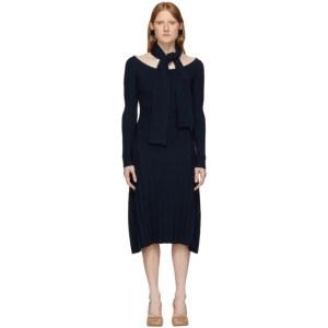 Rokh Navy Knit Utility Dress