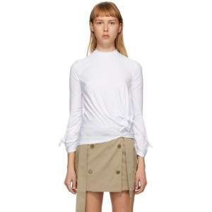 Rokh White Knotted Long Sleeve T-Shirt