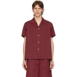Bode Blue and Red Micro Tent Short Sleeve Shirt