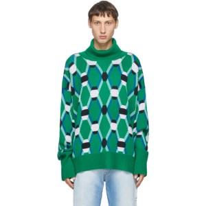 Random Identities Green Jacquard Knit Sweater