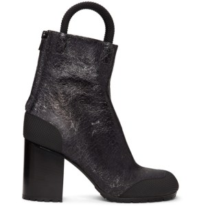 Random Identities Black and Silver Cracked Worker Boots