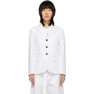 Plan C White Masculine Blazer