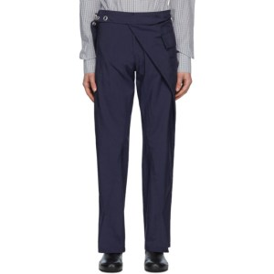 Bianca Saunders Navy Wrapped Split Cuff Trousers